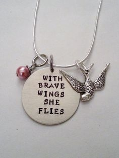 Inspirational With Brave Wings She Flies Hand Stamped Necklace - DIY Jewelry Pearl Ideen Amber Jewelry, Metal Jewelry, Silver Jewelry, Silver Ring, Silver Bracelets, Silver Earrings, Bullet Jewelry, Leather Bracelets, Leather Cuffs