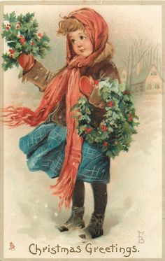 CHRISTMAS GREETINGS girl carrying holly faces left - TuckDB Postcards