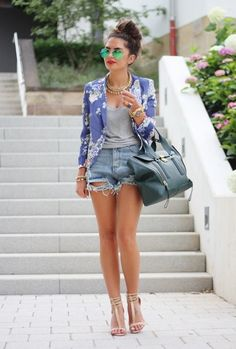 Denim Shorts Outfit with a Blazer