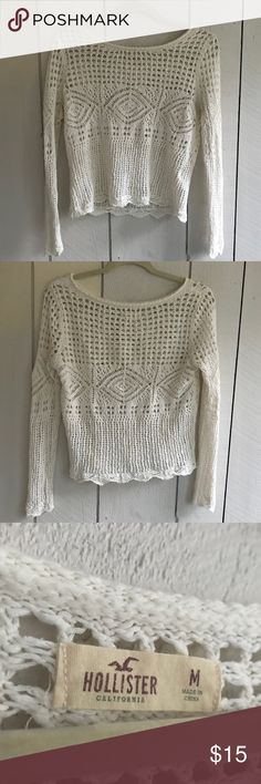 Hollister-Sweater This sweater is in great condition. The design is amazing and allows for any colored tank top to look fantastic with it! Hollister Sweaters Crew & Scoop Necks