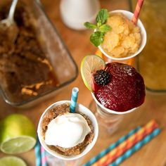 3 Easy Drunken Snow Cones: Blackberry-Lime Rickey, Peach Bourbon Smash and Espresso-Rum with Whipped Cream
