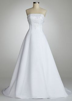 David's Bridal Wedding Dress: Strapless A Line Gown with Split Back Style U3378, White, 0