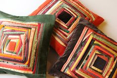 Handmade Patchwork Contemporary Pillow covers Geen, Orange, Brown mixed colour.