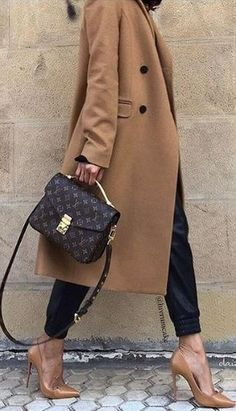Camel Coat, Heels & Louis Vuitton Bag.