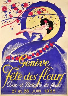 "Genève 1925, Fête des fleurs (Empaytaz J. / 1925) In 1830 begin the first Geneva festival, with a procession and a flower battle. At the beginning of the twenty's century a ""Fête de nuit"" with fireworks and the famous ""Gordon Benett"" ballon cup were added to the festival. The first *Fêtes des Fleurs of Geneva"" was in 1923 and the first ""Fêtes de Genève"" began in 1946. Extremely rare poster finely printed in stone-lithographic in 1925."