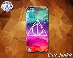 Deathly Hallows Symbol Watercolor Rainbow Harry Potter Rubber Custom Case For iPod Tough 4th Generation And iPod Touch 5th Generation Gen