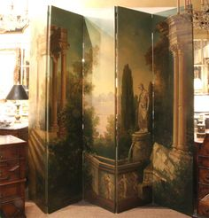 Outstanding Oil On Canvas Eight Panel Screen image 8--Thomas Jolly Antiques, 1st Dibs