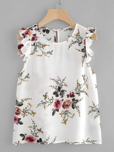 Shop Frilled Armhole Button Closure Back Shell Top online. SheIn offers Frilled Armhole Button Closure Back Shell Top & more to fit your fashionable needs. Fashion Clothes, Girl Fashion, Fashion Dresses, Clothes Women, Fashion Black, Ladies Fashion, Style Fashion, Floral Blouse, Floral Tops