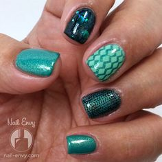Teal Skittles Nail Art by Nail Envy - used UberChic Beauty nail stamp plates to make this look - love it!!!