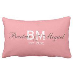 Custom Monogram Names Family Pillow | Rectangle