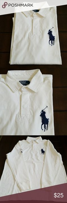 "Polo Ralph Lauren classic fit rugby LS medium Polo Ralph Lauren classic fit rugby LS medium. Preowned condition. No fading on the big pony or the block ""3"" on the sleeve. Nice white with navy blue details. Polo by Ralph Lauren Shirts"
