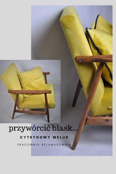 fotel B-7727 zostały wyprodukowany przez Zakłady Przemysłu Meblarskiego im. Gwardii Ludowej w Radomsku w latach '70.  Fotel został poddany całkowitej renowacji, bukowane drewno stelaża zostało oczyszczone z powłok lakierniczych tapicerka została także w całości wymieniona  prezentowana tapicerka to tkanina MAROKO 2357 (welur)  #pracowniarelamusownia #fotelPRL #renowacjameblikraków #forniuture Accent Chairs, Furniture, Home Decor, Upholstered Chairs, Decoration Home, Room Decor, Home Furnishings, Home Interior Design, Home Decoration