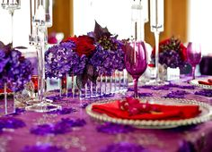 Purple and Red wedding decor at Le Meridien Tampa Jewel Tone Colors, Jewel Tones, Red Wedding Decorations, Table Decorations, Pretty Little, Wedding Details, Dream Wedding, Purple, Viola