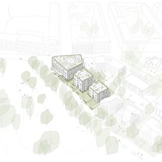 P77-79 — Reiulf Ramstad Arkitekter Residential Complex, Common Area, Home Projects, The Neighbourhood, Illustration, Architects, Sketch, Sketch Drawing, The Neighborhood