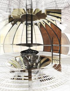 Drawing ARCHITECTURE: Jessica Luscher,Stillness in Motion: Excavation of an Alpine Soundscape, Sound Vessel Interior Rendering, 2014, Rhino, Vray, Photoshop, pastel, pen and ink.