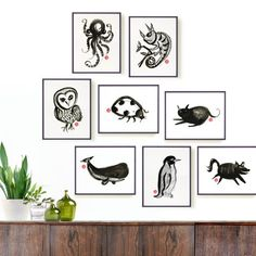 Octopus print - watercolor ink drawing in black and white by colorZen on Etsy.