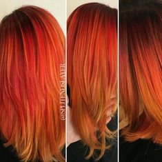 26 Stunning New Red Hair Colour Ideas - PoPular Haircuts Red Ombre Hair, Bright Red Hair, Long Red Hair, Hair Color Shades, Red Hair Color, Color Red, Pelo Popular, Hair Dye Tips, Fire Hair