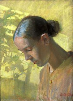 """Anna Ancher, """"Sypigens hoved, Ane"""" (1890)."""