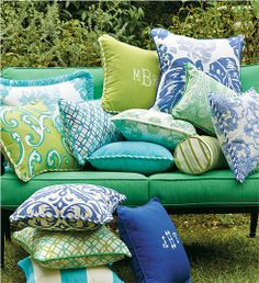 This summer, bring unexpected color to your outdoor entertaining area with decorative pillows.