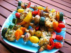"""Grilled Pepper Garlic Shrimp: """"Succulent shrimp, bursting with flavor and a healthy kick of spice. The skewers can be made ahead. Try it with mixed vegetables, red pepper, onion, zucchini, whatever you like."""" -canarygirl"""