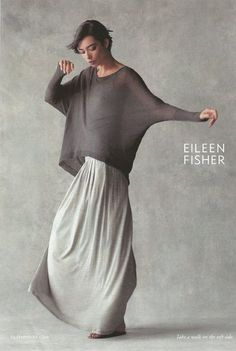 Eileen Fisher- like the draped look, the layers of the top over the maxi skirt/dress, the grey. Fashion Mode, Look Fashion, Womens Fashion, Fashion Design, Mode Outfits, Fashion Outfits, Fashion Tips, Moda Chic, Mode Inspiration