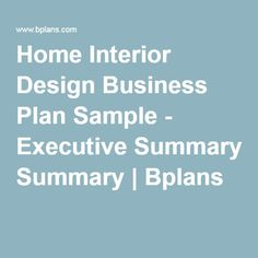 Home Interior Design Business Plan Sample