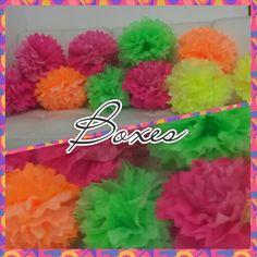 Paper pompon party decorations