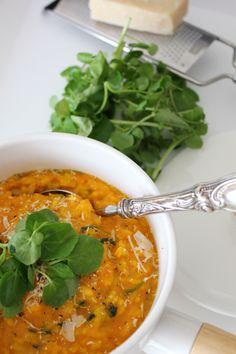 Risotto de abóbora e agrião | Butternut and watercress risotto