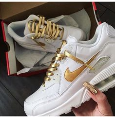 White and Gold AirMax