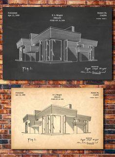Frank Lloyd Wright House Patent Print Art by CatkumaPatentPress