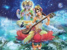Jai Maa Saraswati and Jai Shri Brahma Saraswati Photo, Saraswati Goddess, Kali Goddess, Mother Goddess, Goddess Art, Shiva Shakti, Hanuman Images, Durga Images, Lord Krishna Images