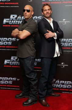 Paul Walker and Vin Diesel posed back to back during a Fast & Furious press conference in Mexico City back in March 2009.