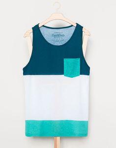 Pull&Bear - homme - t-shirts - t-shirt bretelles - ton bleu - 09230554-V2014