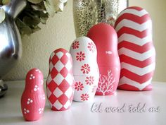 Russian Stacking Dolls in Coral and White