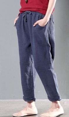 Navy causal linen pants women trousers
