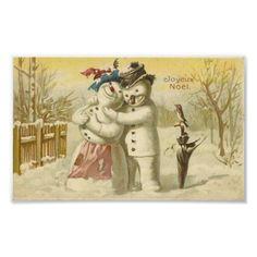 Vintage Joyeux Noel Snowman & Woman Card Print from Zazzle.com
