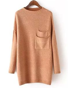 Sweet Women's Boat Collar Solid Color Long Sleeve Sweater