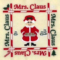 Mrs. Claus Quilt Square - 5x5   What's New   Machine Embroidery Designs   SWAKembroidery.com Starbird Stock Designs