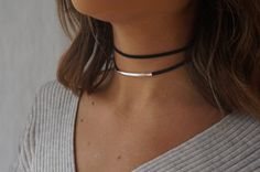 Double Suede Choker Black Choker Necklace Dainty by tooposhh