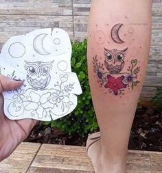 Baby Owl Tattoos, Cute Owl Tattoo, Owl Tattoo Small, Mom Tattoos, Body Art Tattoos, Hand Tattoos, Small Tattoos, Tattoo Ink, Tatoos