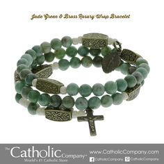 Jade Green & Brass Rosary Wrap Bracelet, $69.95. Gorgeous full rosary wrap bracelet,      jade green stones & brass accents,      unique styling with a vintage flair.      Personalize it ...  antiqued brass charm with hand-stamped monogram!