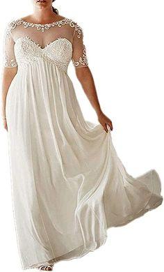 efc0a97e3bd DreHouse Women s Chiffon Vintage Beach Wedding Dresses with Half Sleeves  Plus Size at Amazon Women s Clothing store