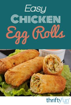 Making Chicken Egg Rolls - - These easy to make, delicious egg rolls are baked rather than fried. They are a great accompaniment to stir fry or any other dish. This page contains a recipe and instructions for making chicken egg rolls. Shrimp Egg Rolls, Pork Egg Rolls, Chicken Egg Rolls, Chicken Eggs, Egg Rolls Baked, Homemade Chinese Food, Easy Chinese Recipes, Asian Recipes, Chinese Meals