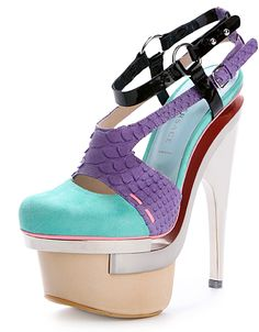 Definitely NOT timeless!!! Versace Shoes #platform shoes #stiletto heels #turquoise shoes