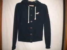 Hollister Size Small Navy Hooded With Ties Button Front Junior Sweatshirt Hoodie #Hollister #Sweatshirt