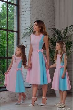 Mom Daughter Matching Outfits, Mommy Daughter Dresses, Mother Daughter Fashion, Mommy And Me Outfits, Little Girl Dresses, Kids Outfits, Girls Dresses, Dress Patterns, Baby Dress