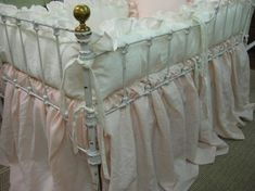 Items similar to Washed Linen Crib Bedding ----Vintage White Ruffled Bumpers----Powder Blush Storybook Crib Skirt - Sash Separates - Ruffled Crib Pillow on Etsy Crib Pillows, Crib Bedding, Linen Bedding, Ruffle Pillow, Pillow Shams, Pink Crib, Crib Skirts, Bath Linens, Fabric Samples