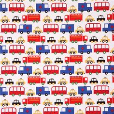 white taxi bus car fabric Robert Kaufman Ready Set Go