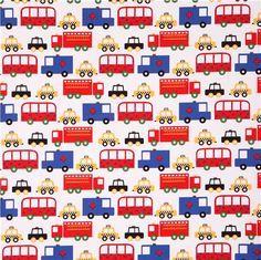 white taxi bus car fabric Robert Kaufman Ready Set Go