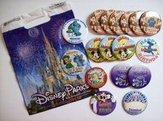 "Disneyland 3"" Button 17 Pin LOT Disney Souvenir Bag Happy Birthday Mickey Goofy"